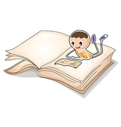 A book with an image of a boy reading vector image