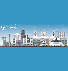 Guatemala skyline with gray buildings and blue sky vector