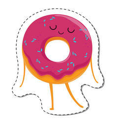 Donut cartoon character in dream vector