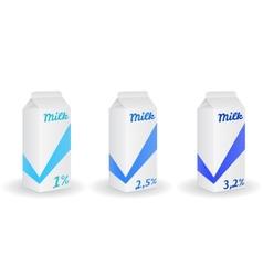 Three milk boxes vector image