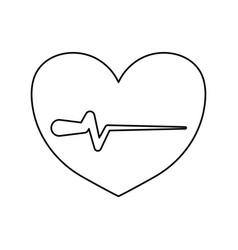 Line heartbeat sign of cardiac rhythm frequency vector