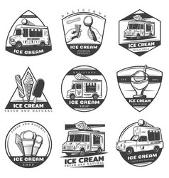 monochrome vintage ice cream labels set vector image
