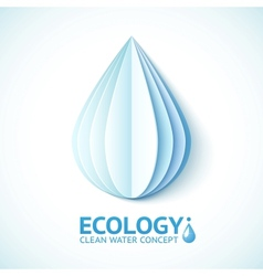 White paper water drop in origami style vector