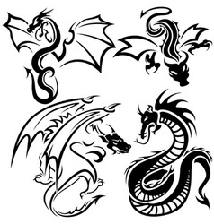 Tattoo dragons vector