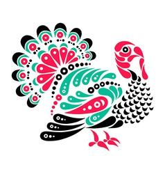 Happy thanksgiving beautiful turkey tattoo symbol vector