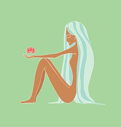 Beautiful young woman holding a lotus flower vector