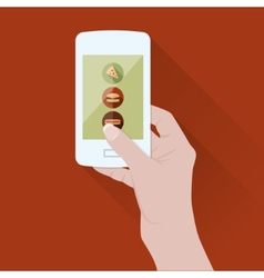 Smart phone with food application vector