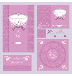 Wedding invitation set 1 380 vector
