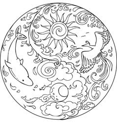 Coloring Tao Mandala Diksha vector image