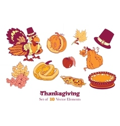 Ten thanksgiving design elements turkey pumpkin vector