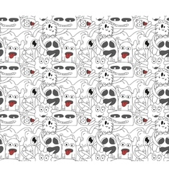 Seamless pattern with abstract monsters vector