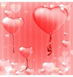 Striped pink heart background vector
