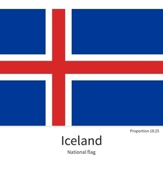 National flag of iceland with correct proportions vector