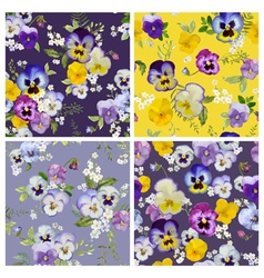 Pansy flowers background set - seamless pattern vector