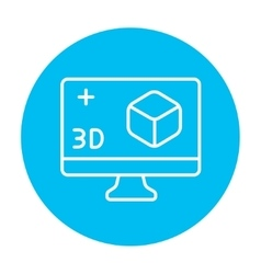 Computer monitor with 3d box line icon vector