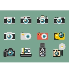 Photo camera flat icons vector