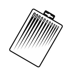 Different sewing needles in a box icon vector