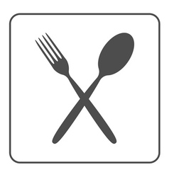 crossed spoon and fork icon vector image