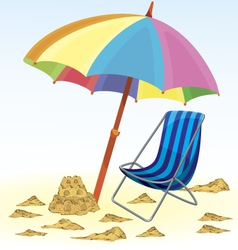 Beach umbrella chair vector