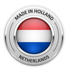 Silver medal made in netherlands with flag vector