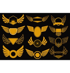 Wings gold collection vector