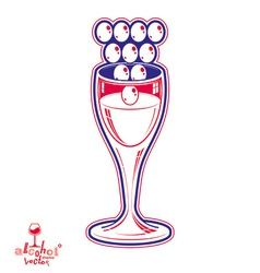Winery fantasy elegant wineglass with grape vector
