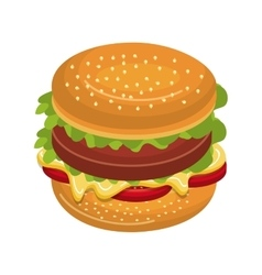 Delicious fast food burger theme design icon vector