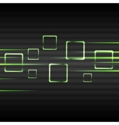 Abstract green glowing squares vector