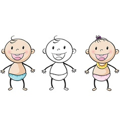 Baby boy and girl smiling vector image