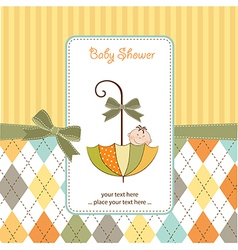 baby shower card with umbrella vector image vector image