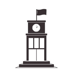 Black silhouette structure with flag and clock vector