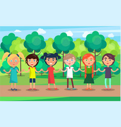 Children line with holding hands on park path vector