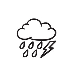 Cloud with rain and lightning bolt sketch icon vector