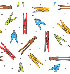 Colorful various types of clothes pin pegs vector