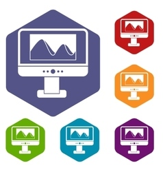 Computer monitor with photo on screen icons set vector image vector image