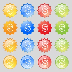 Dollar icon sign Big set of 16 colorful modern vector image