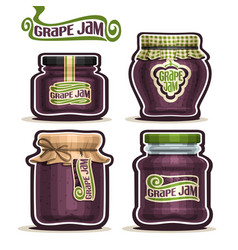 Grape jam in glass jars vector