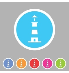 Lighthouse icon flat web sign symbol logo label vector