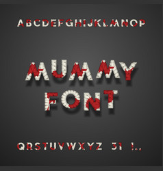 mummy bandage font with blood halloween typeface vector image vector image