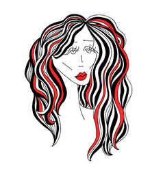 Sad woman with beautiful hair and red lips vector