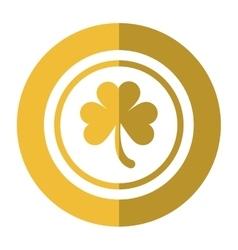 saint patrick day coin shamrock icon shadow vector image