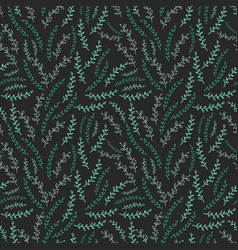 seamless pattern with green twigs on background vector image vector image