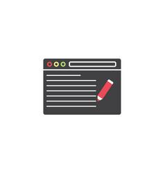 Seo copywriting symbol browser with pen vector