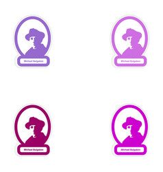Set of paper stickers on white background michael vector
