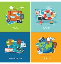 set of summer and travel flat design banner templa vector image vector image