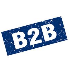 Square grunge blue b2b stamp vector