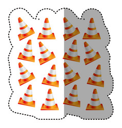 Sticker colorful realistic pattern traffic cone vector