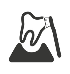 tooth silhouette with dental care icon vector image