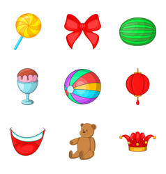 Unlimited fun icons set cartoon style vector