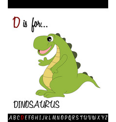 Vocabulary worksheet card with cartoon dinosaurus vector
